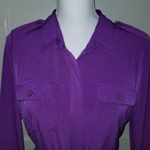Kim Rogers PL Purple Button Front Waist Tie Dress